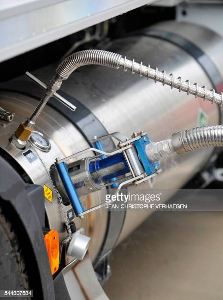 A fuel pomp of liquified natural gas is pictured at the gas station of Air Liquide on June 28 2016 in FlévilledevantNancy eastern France / AFP PHOTO...