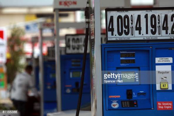Fuel prices are advertised at a gas station where prices have gone over $4 per gallon May 19 2008 in Douglaston in the borough of Queens New York...