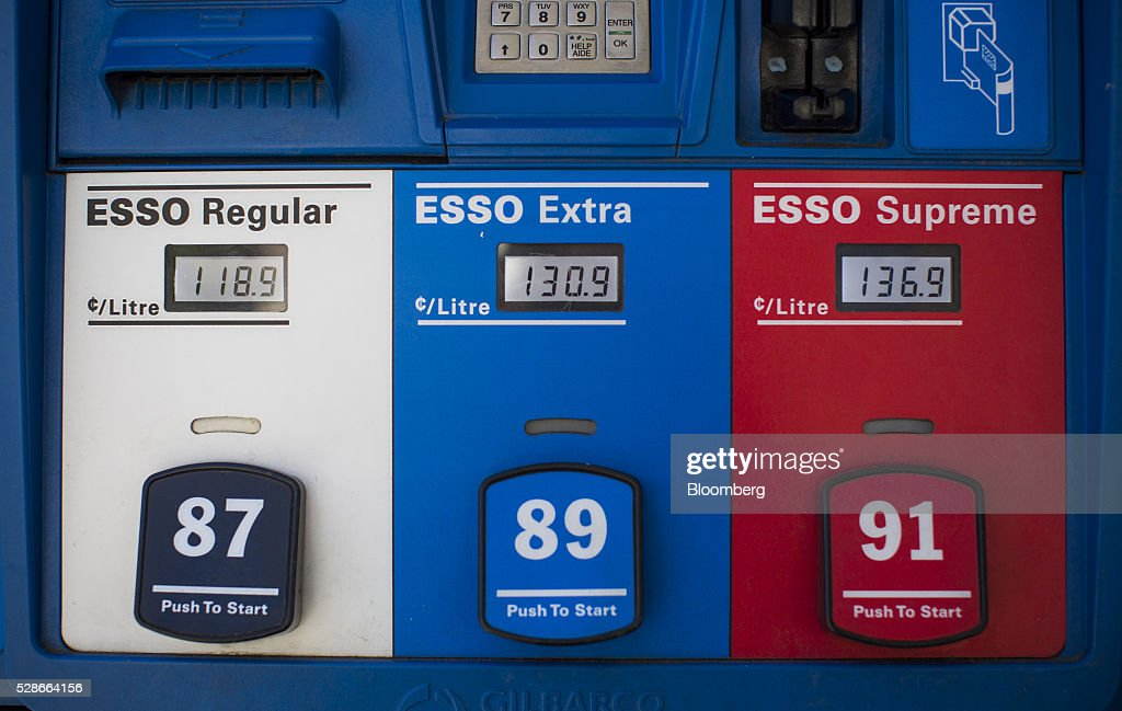 Fuel prices are displayed on pumps at an Esso gas station in Vancouver, British Columbia, Canada, on Friday, May 6, 2016. The worst wildfire in Alberta history is boosting Canadian crude prices as oil companies evacuate workers and shut in output. Photographer: Ben Nelms/Bloomberg via Getty Images
