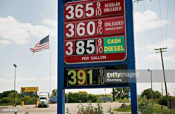 Fuel prices are displayed outside a Road Ranger gas station in Princeton Illinois US on Tuesday June 17 2014 Gasoline in the US climbed this week...