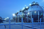 Fuel Storage Tank in oil refinery or chemical plant at night.