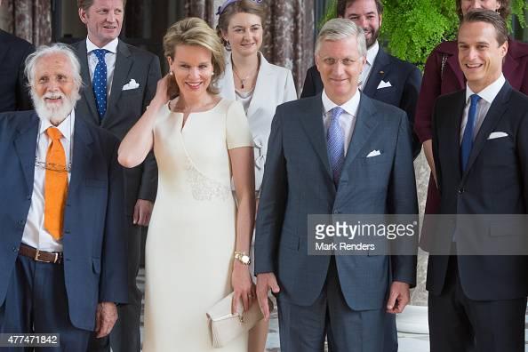 Fuerst Bluecher Belgian Queen Mathilde and Belgian King Philip in the Castle of Laeken on June 17 2015 in Brussel Belgium