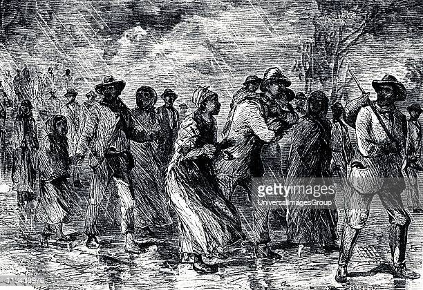 Fugitive slaves fleeing from Maryland to Delaware by way of the 'Underground Railroad' 18501851 Engraving