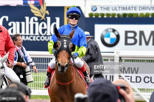 Fuhryk ridden by Craig Williams returns after winning the Carlton Draught Alinghi Stakes at Caulfield Racecourse on October 21 2017 in Caulfield...