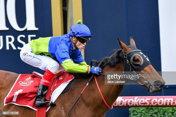 Fuhryk ridden by Craig Williams wins the Carlton Draught Alinghi Stakes at Caulfield Racecourse on October 21 2017 in Caulfield Australia