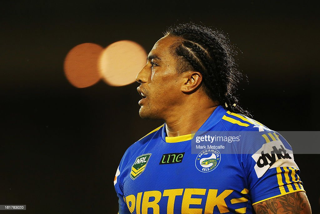Fui Fui Moi Moi of the Eels looks on during the NRL trial match between the Wests Tigers and the Parramatta Eels at Campbelltown Sports Stadium on February 16, 2013 in Sydney, Australia.