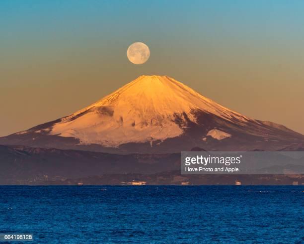 Fuji and Full Moon