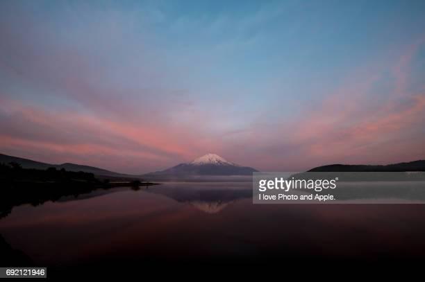 Fuji in the pink sky