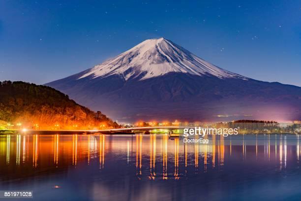 Fuji Mountain and Fujikawaguchiko Town at Night in Autumn
