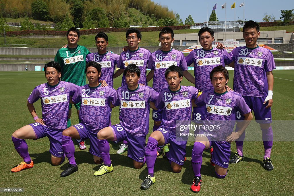 Fujieda MYFC players line up for the team photos prior to the J.League third division match between Fujieda MYFC and Grulla Morioka at the Fujieda Stadium on May 1, 2016 in Fujieda, Shizuoka, Japan.