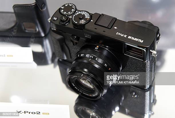 Fujifilm's new XPro2 premium mirrorless digital camera is displayed during the Fujifilm X Series fifth anniversary event in Tokyo on January 15 2016...