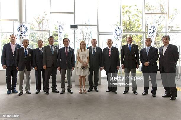 Fujisawa city mayor Tsuneo Suzuki Kanagawa prefecture governor Yuji Kuroiwa International Olympic Committee member Alex Gilady Tokyo 2020 President...
