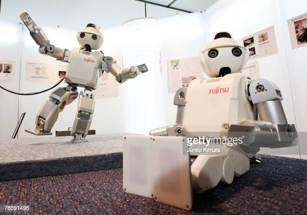 Fujitsu's humanoid robot HOAP3 on display at the Robot Award 2007 on December 20 2007 in Tokyo Japan HOAP3 is able to walk kick grasp objects and...