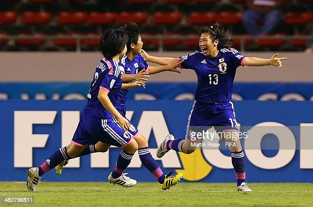 Fuka Kono of Japan celebrates after scoring the 2nd goal during the FIFA U17 Women's World Cup 2014 final match between Japan and Spain at Estadio...