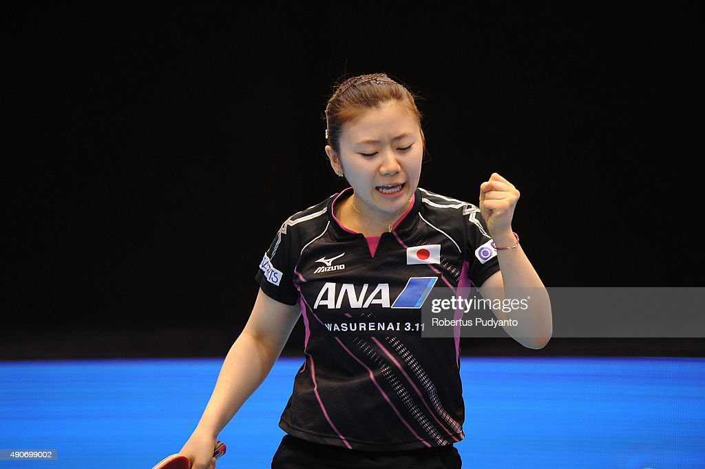 <a gi-track='captionPersonalityLinkClicked' href=/galleries/search?phrase=Fukuhara+Ai&family=editorial&specificpeople=221508 ng-click='$event.stopPropagation()'>Fukuhara Ai</a> of Japan reacts against Sawettabut Suthasini of Thailand during Women's singles second round match of the 22nd 2015 ITTF Asian Table Tennis Championships at Pattaya Sports Indoor Stadium on September 30, 2015 in Pattaya, Thailand.