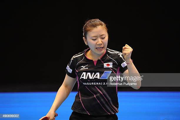 Fukuhara Ai of Japan reacts against Sawettabut Suthasini of Thailand during Women's singles second round match of the 22nd 2015 ITTF Asian Table...