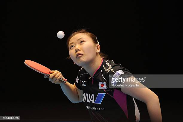 Fukuhara Ai of Japan serves against Sawettabut Suthasini of Thailand during Women's singles second round match of the 22nd 2015 ITTF Asian Table...