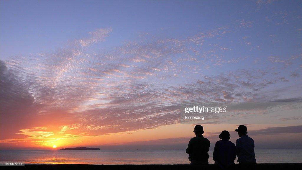 fukuma beach at sunset time