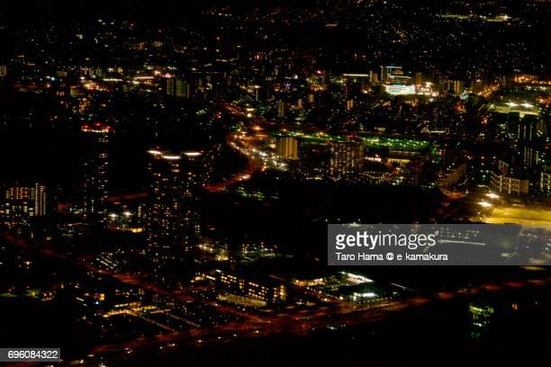 Fukuoka city night time aerial view from airplane