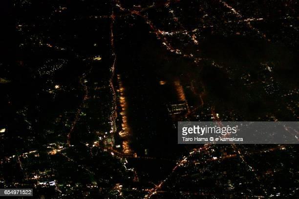 Fukuoka International Airport, night aerial view from airplane