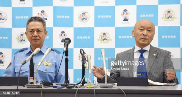 Fukuoka prefectural police hold a press conference in Kitakyushu southwestern Japan on Sept 8 announcing the arrest of several members of Kudokai one...