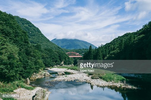 Fukushima landscape with river and mountains