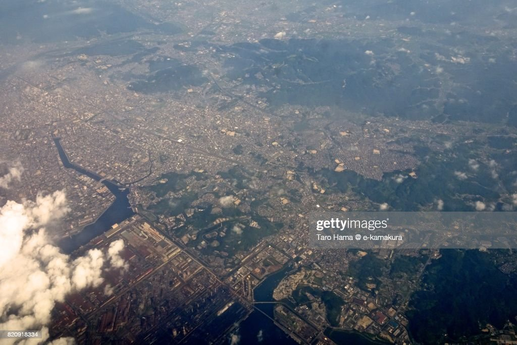Fukuyama city in Hiroshima prefecture day time aerial view from airplane : ストックフォト