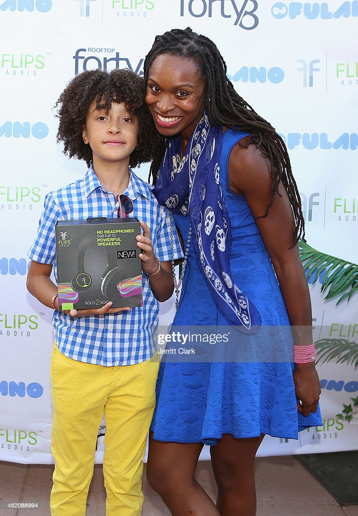 DJ Fulano poses with his mother Latham Thomas at his 11th birthday party at Rooftop 48 on July 12, 2014 in New York City.