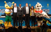 Fuleco mascot of the FIFA World Cup Brazil 2014 Aldo Rebelo Brazil's Minister of Sports Lydia Nsekera FIFA Executive Committee member and Chair of...