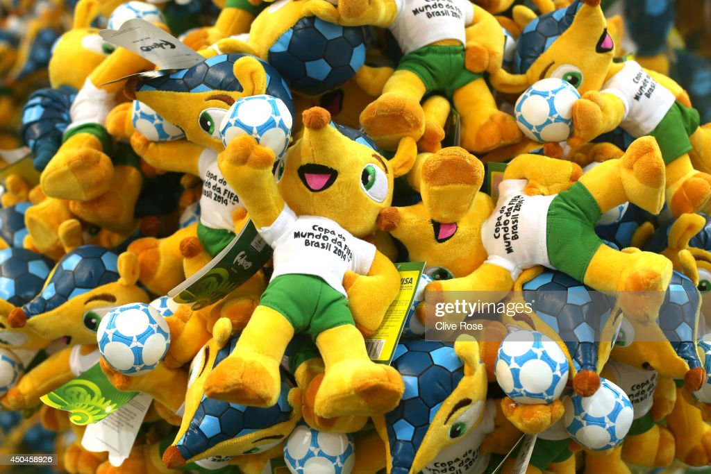 'Fuleco' the World Cup mascot is seen on goods at a merchandise store at on June 11, 2014 in Rio de Janeiro, Brazil.