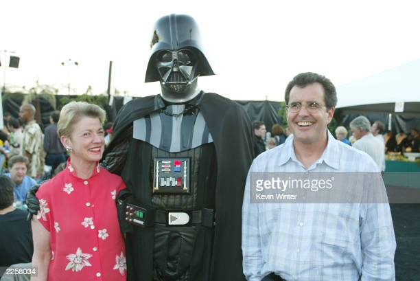 Fulfillment Fund CEO Andrea Cockrum and Peter Chernin with Darth Vader at the premiere of 'Star Wars Episode II Attack of the Clones' at the Chinese...
