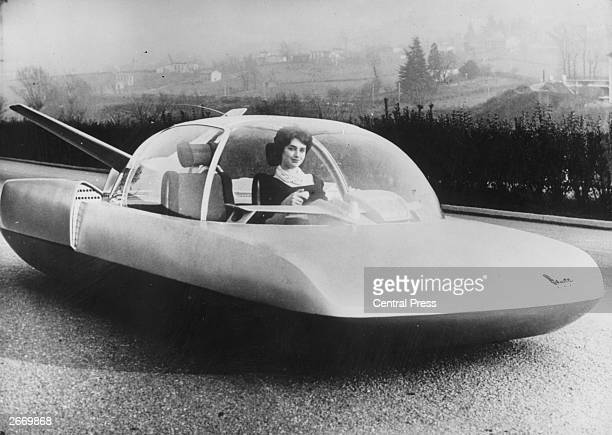 A Fulgar showmodel car made by French car manufacturers Simca Designed for the year 2000 it is intended to be atomically powered guided by radar and...