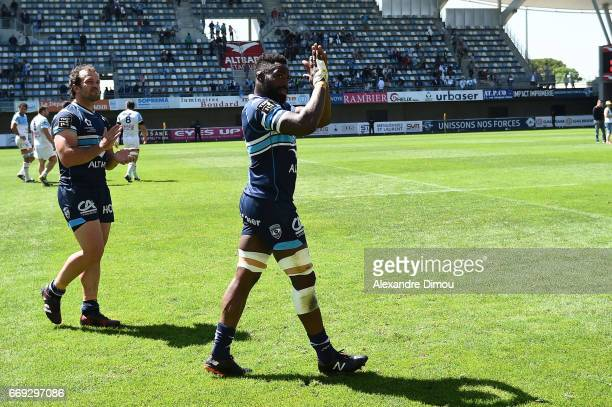 Fulgence Ouedraogo and Bismarck Du Plessi of Montpellier celebrates the Victory during the Top 14 match between Montpellier and Bayonne on April 16...