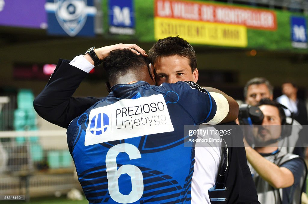 Fulgence Ouedraogo and Francois Trinh Duc of Montpellier at the end of the rugby Top 14 match between Montpelier and RC Toulon on May 29, 2016 in Montpellier, France.