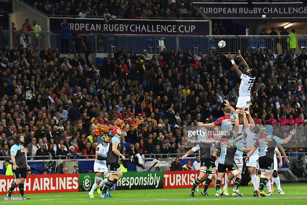 Fulgence Ouedraogo from Montpellier in action during the European Rugby Challenge Cup Final match between Harlequins and Montpellier at Stade de Lyon...