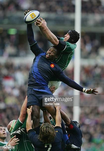 Fulgence Ouedraogo of France and Denis Leamy of Ireland battle for lineout ball during the RBS Six Nations Championship match between France and...