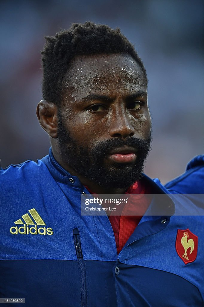 Fulgence Ouedraogo of France lines up for the national anthems during the QBE International match between England and France at Twickenham Stadium on August 15, 2015 in London, England.