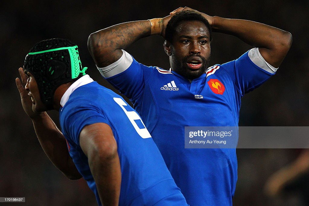 Fulgence Ouedraogo of France looks on during the first test match between the New Zealand All Blacks and France at Eden Park on June 8 2013 in...