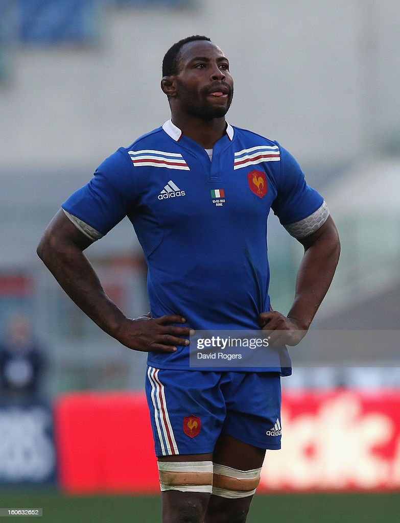 Fulgence Ouedraogo of France looks on during the RBS Six Nations match between Italy and France at Stadio Olimpico on February 3, 2013 in Rome, Italy.