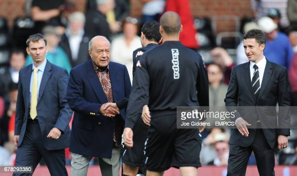 Fulham chairman Mohamed Al Fayed greets Stephen Kelly
