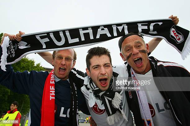 Fulham fans support their team ahead of the UEFA Europa League final match between Atletico Madrid and Fulham at HSH Nordbank Arena on May 11 2010 in...