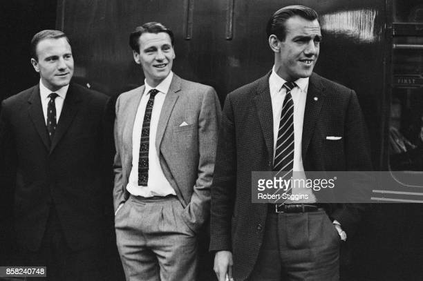 Fulham FC players Tony Macedo Bobby Robson and George Choen during a formal event UK 1st September 1964