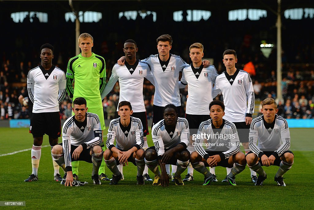 Fulham first XI during the FA Youth Cup Final First Leg match between Fulham U18 and Chelsea U18 at Craven Cottage on April 28, 2014 in London, England.