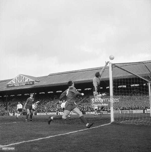 Fulham goalkeeper Jack McClelland tips Ian St John's shot over the bar during a game against Liverpool FC at Craven Cottage 26th February 1966 Fulham...
