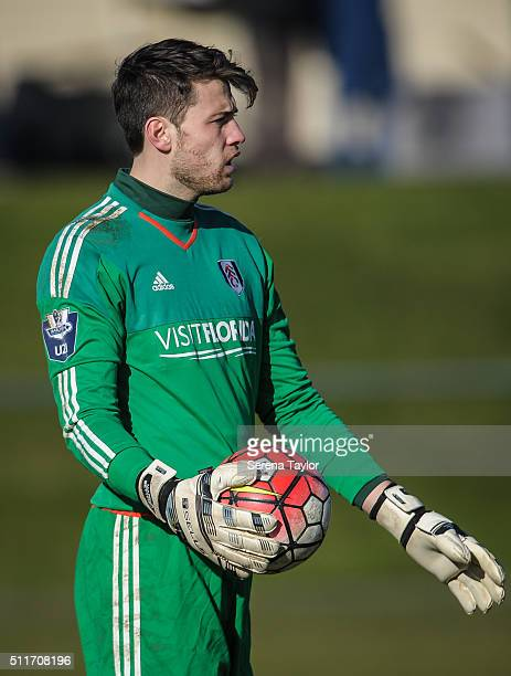 Fulham goalkeeper Marcus Bettinelli holds the ball during The Barclays Under 21 Premier League match between Newcastle United and Fulham at Whitley...