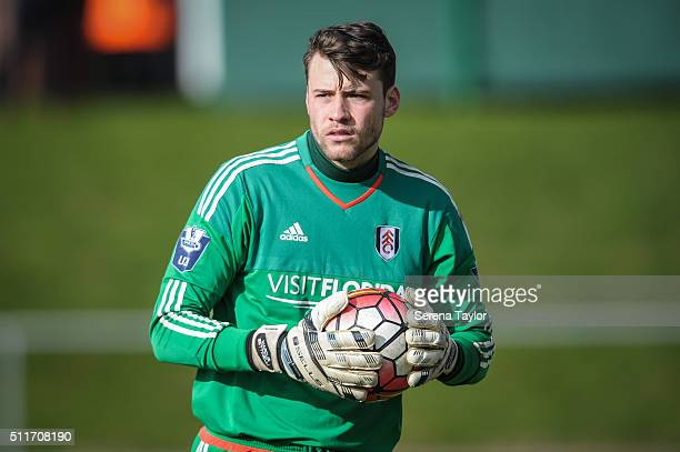 Fulham goalkeeper Marcus Bettinelli holds the ball with two hands during The Barclays Under 21 Premier League match between Newcastle United and...