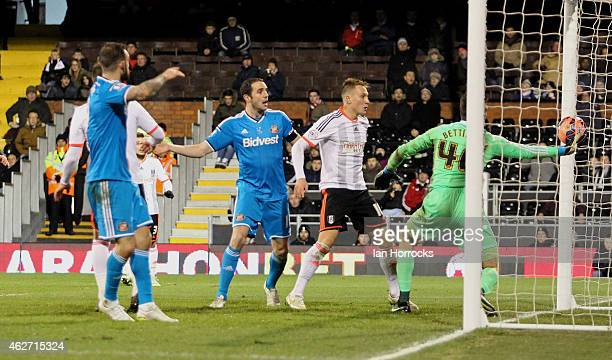 Fulham keeper Marcus Bettinelli tips the ball into his own net during the FA Cup fourth round replay match between Fulham and Sunderland at Craven...