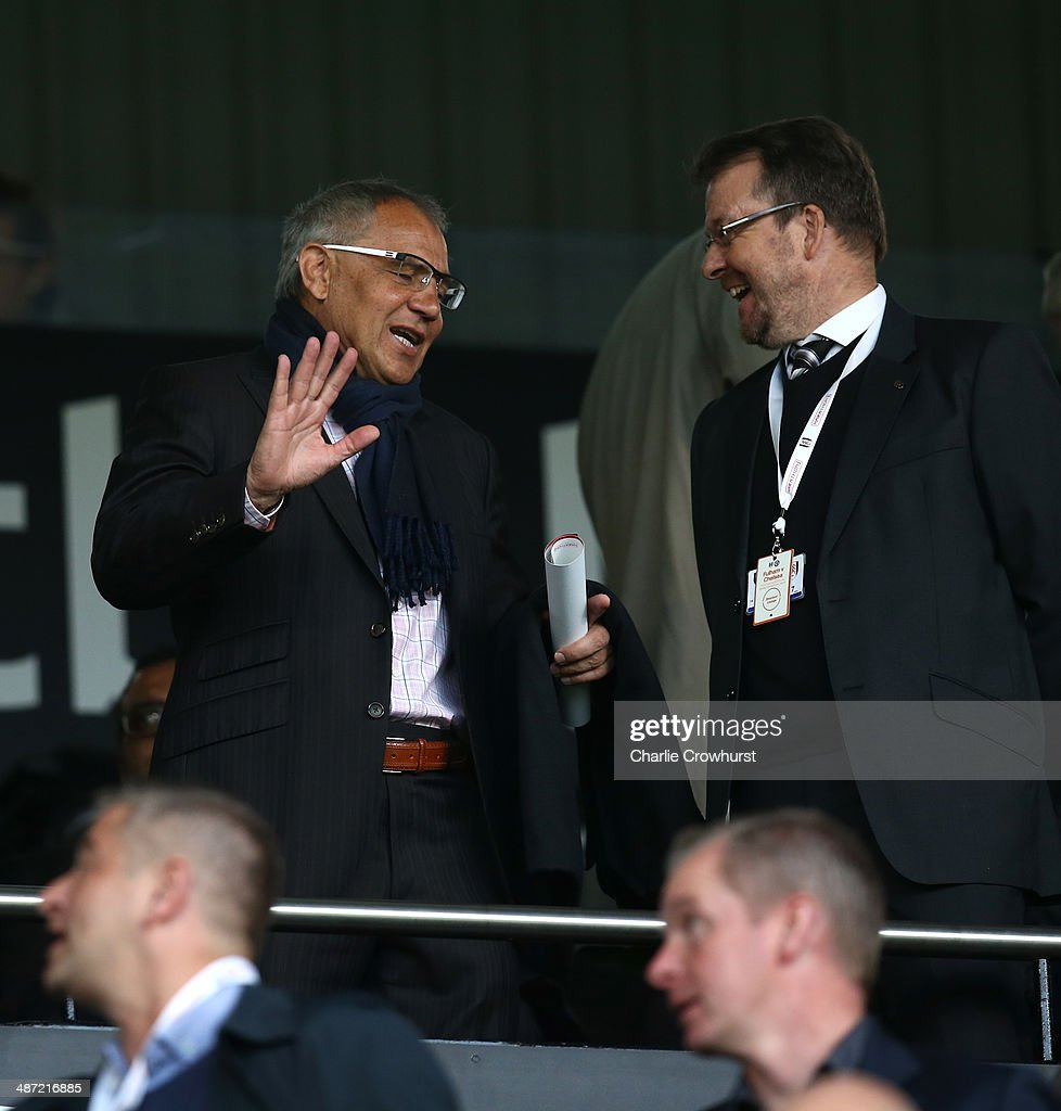Fulham manager Felix Magath chats during the FA Youth Cup Final: First Leg match between Fulham and Chelsea at Craven Cottage on April 28, 2014 in London, England.