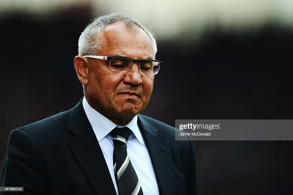Fulham manager <a gi-track='captionPersonalityLinkClicked' href=/galleries/search?phrase=Felix+Magath&family=editorial&specificpeople=206318 ng-click='$event.stopPropagation()'>Felix Magath</a> reacts as his side are relegated following their defeat in the Barclays Premier League match between Stoke City and Fulham at the Britannia Stadium on May 3, 2014 in Stoke on Trent, England.