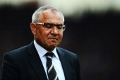 Fulham manager Felix Magath reacts as his side are relegated following their defeat in the Barclays Premier League match between Stoke City and...